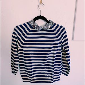J Crew Striped and Floral collared sweater